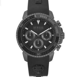 Versace Versus Black 45mm Gunmetal Watch